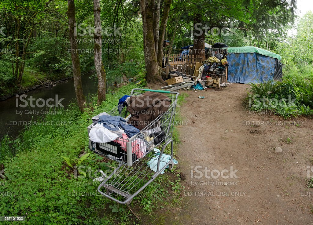 Grocery Cart and Homless Camp Next to Johnson Creek stock photo