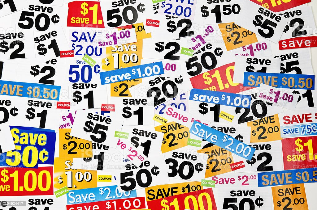 Grocery coupons (horizontal, mixed) - XV royalty-free stock photo