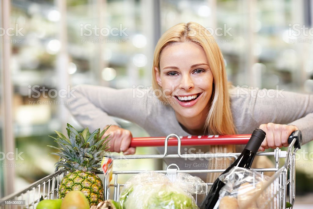 Grocery shopping isn't a chore for me! royalty-free stock photo