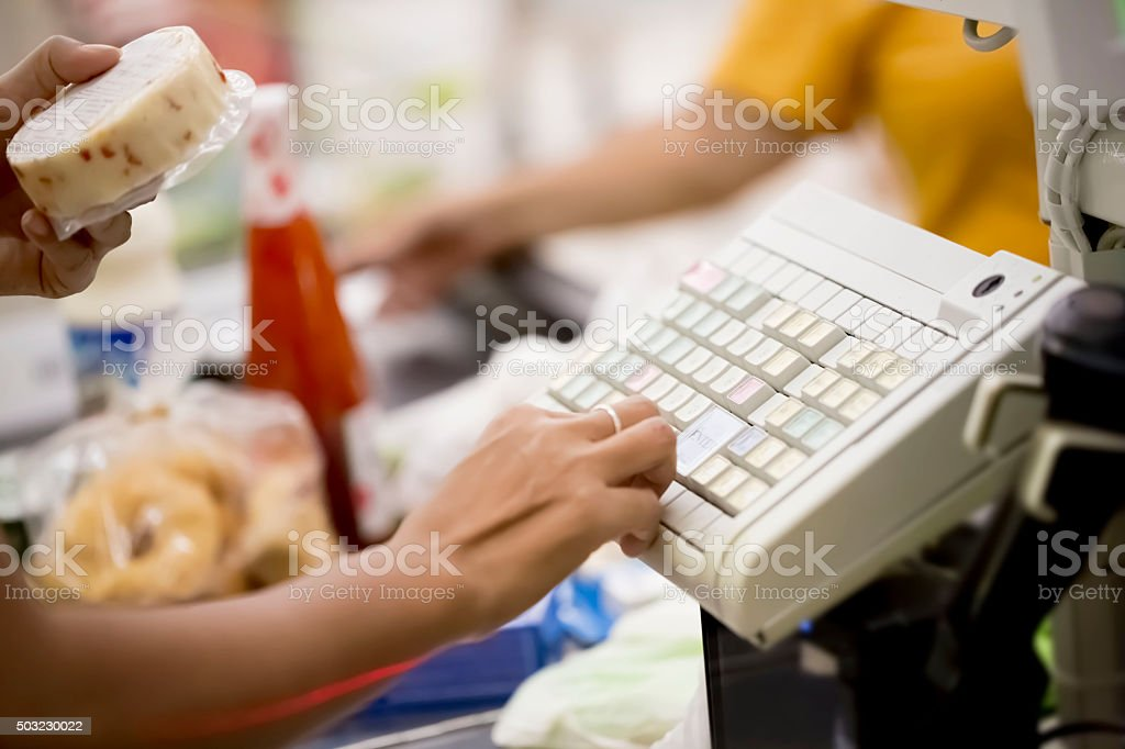 Grocery shopping stock photo
