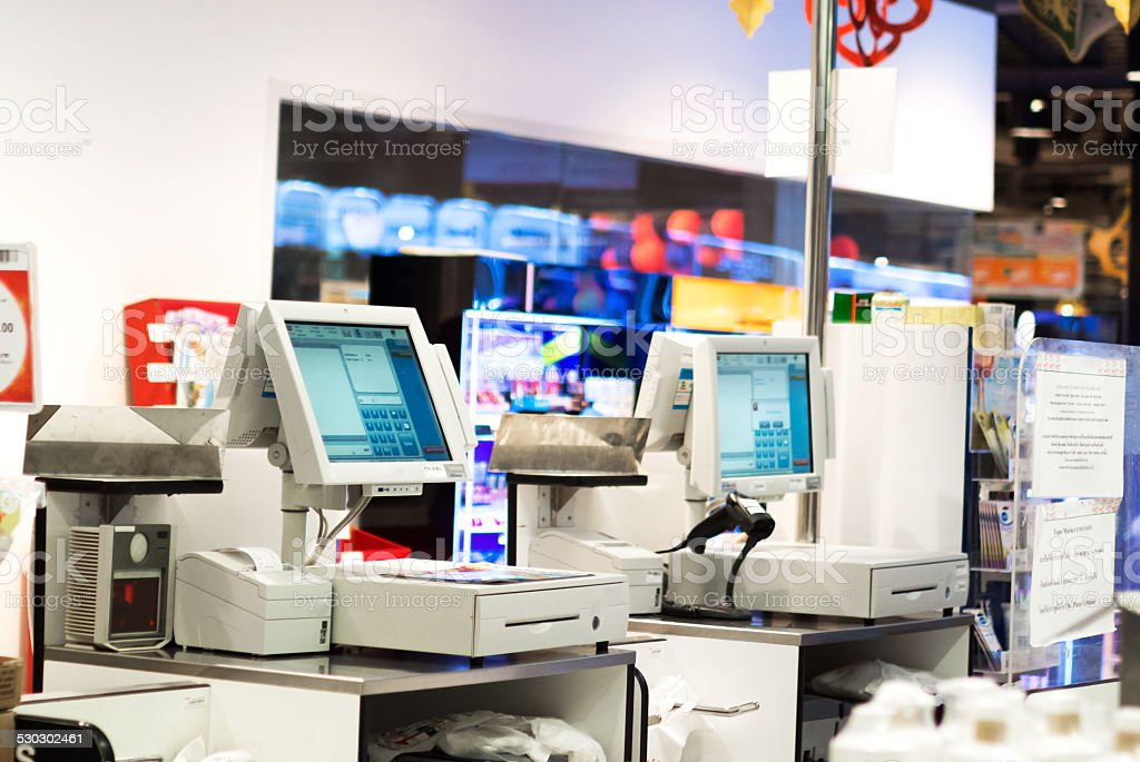 Grocery store checkout stock photo