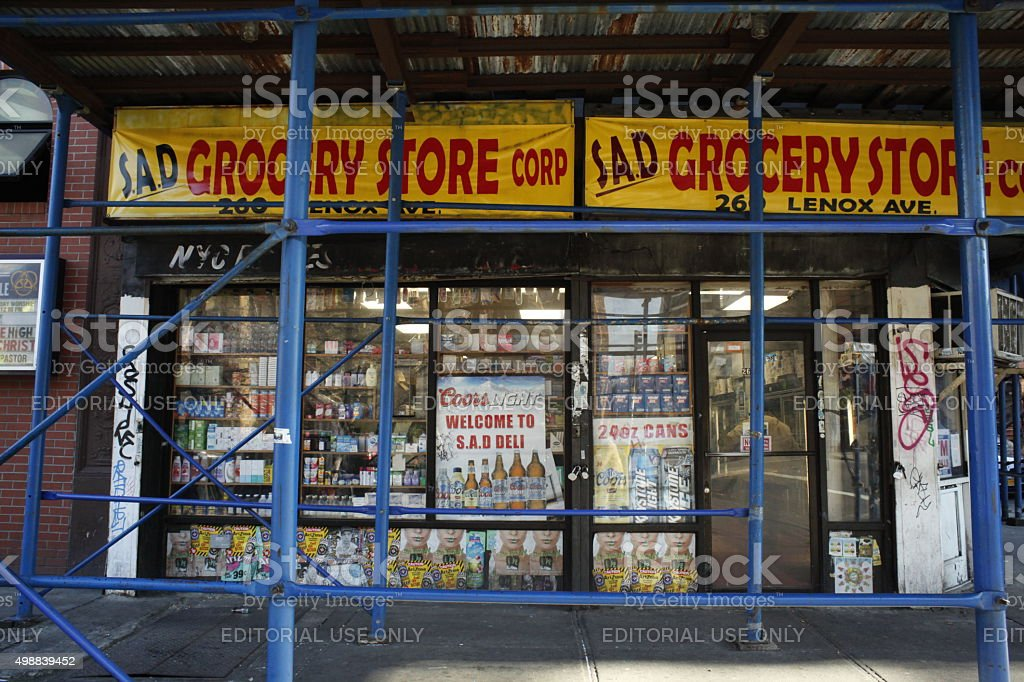 S.A.D Grocery Store Corp on 260 Lenox Ave. Harlem. stock photo