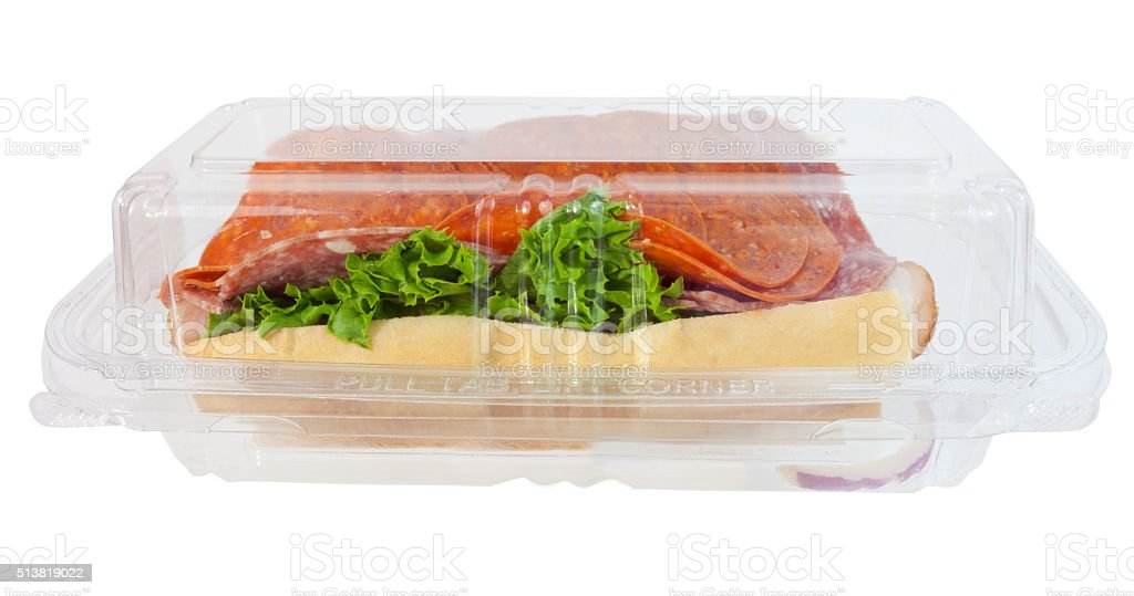 Grocery Store Deli Sandwich in Plastic Box stock photo