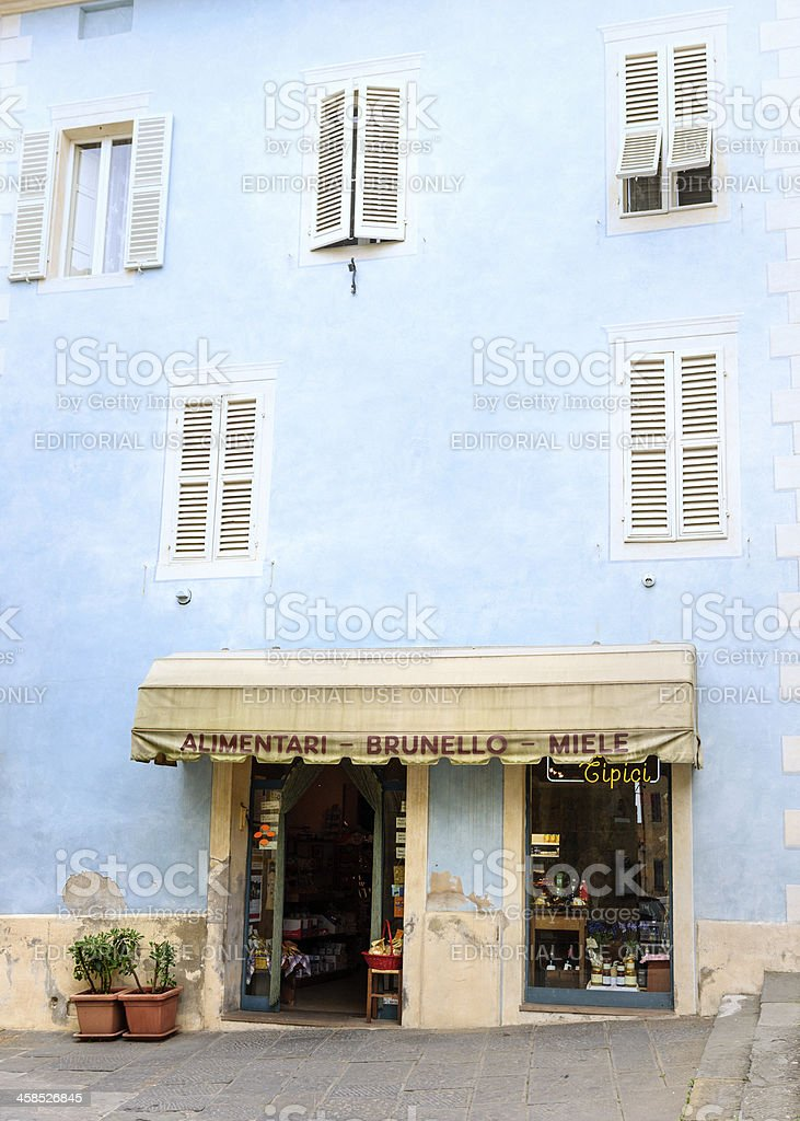grocery store in Montalcino, Tuscany Italy stock photo