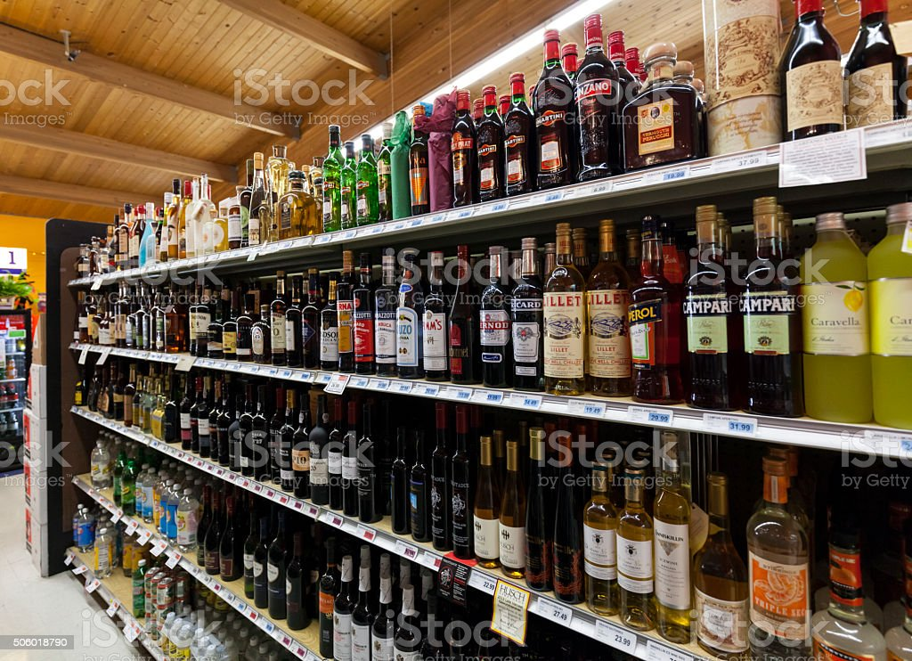 Grocery Store Liquor Department stock photo