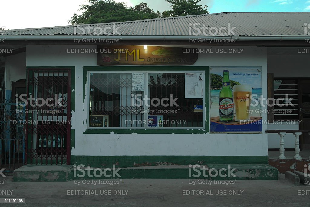 Grocery store on Mahe - Seychelles island stock photo