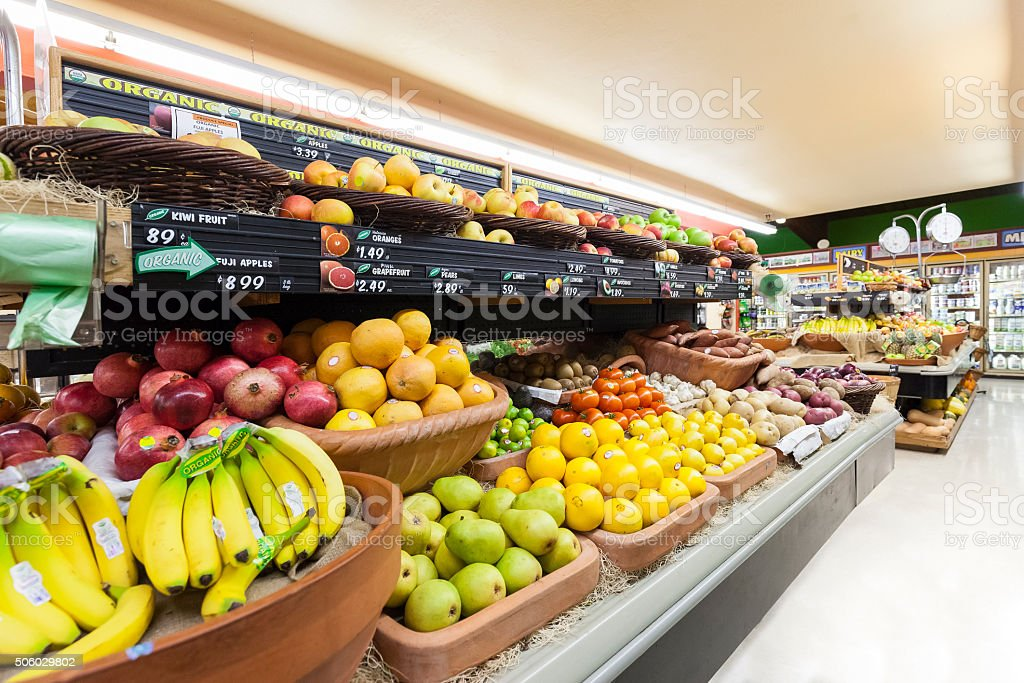 Grocery Store Produce Department stock photo