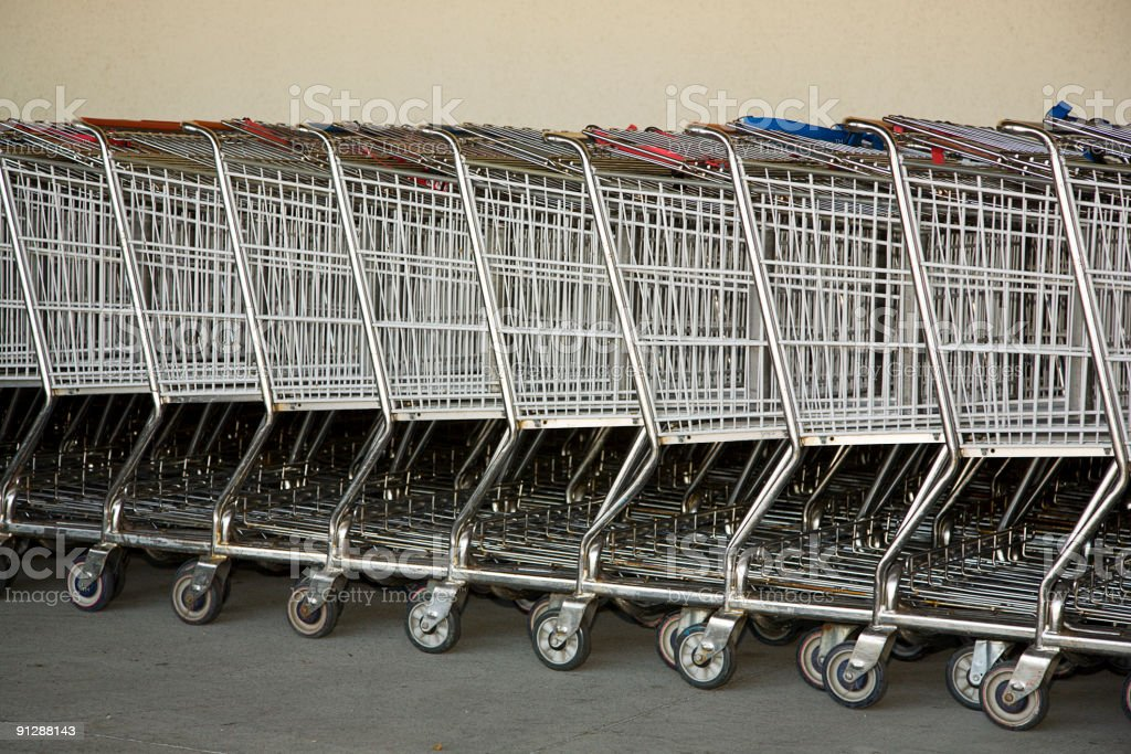 Grocery Store Shopping Carts royalty-free stock photo