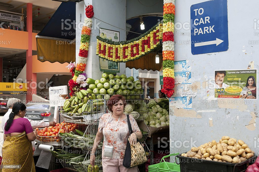 grocery stores at Little India stock photo