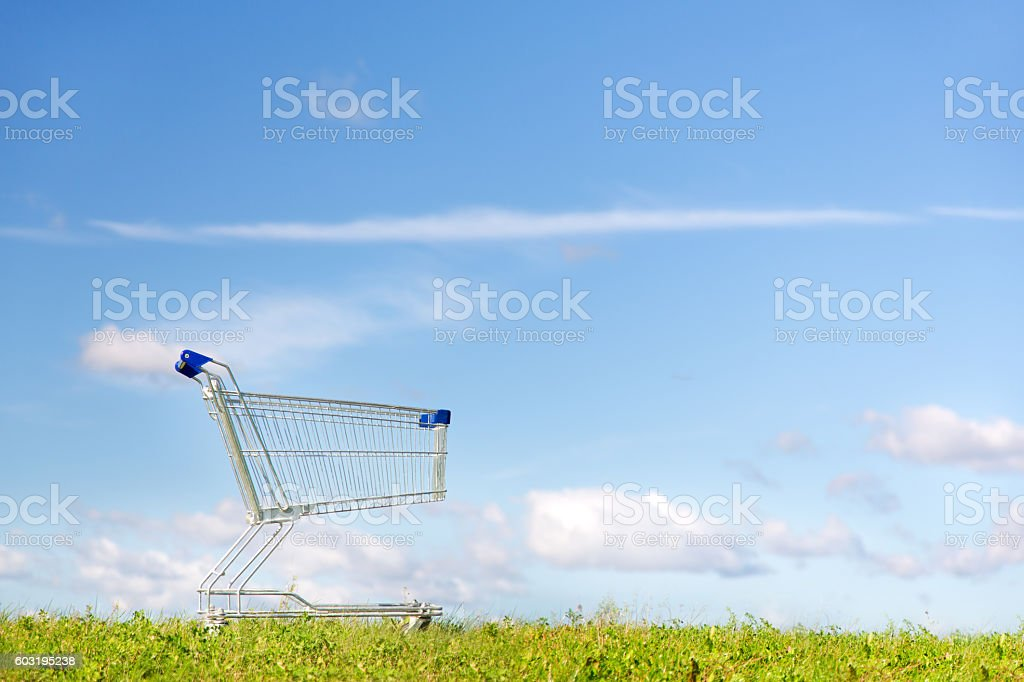 Grocery supermarket trolley in the grass stock photo