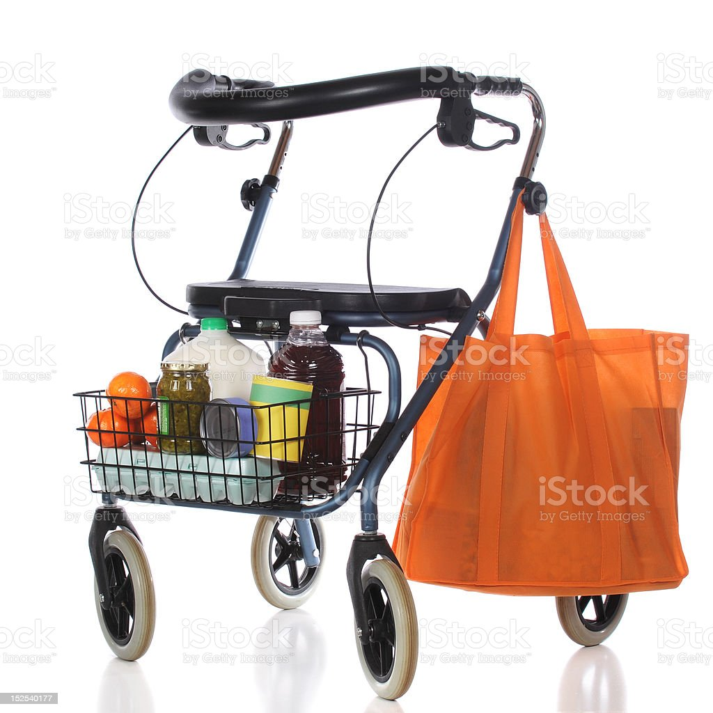 Grocery-Carting Walker royalty-free stock photo