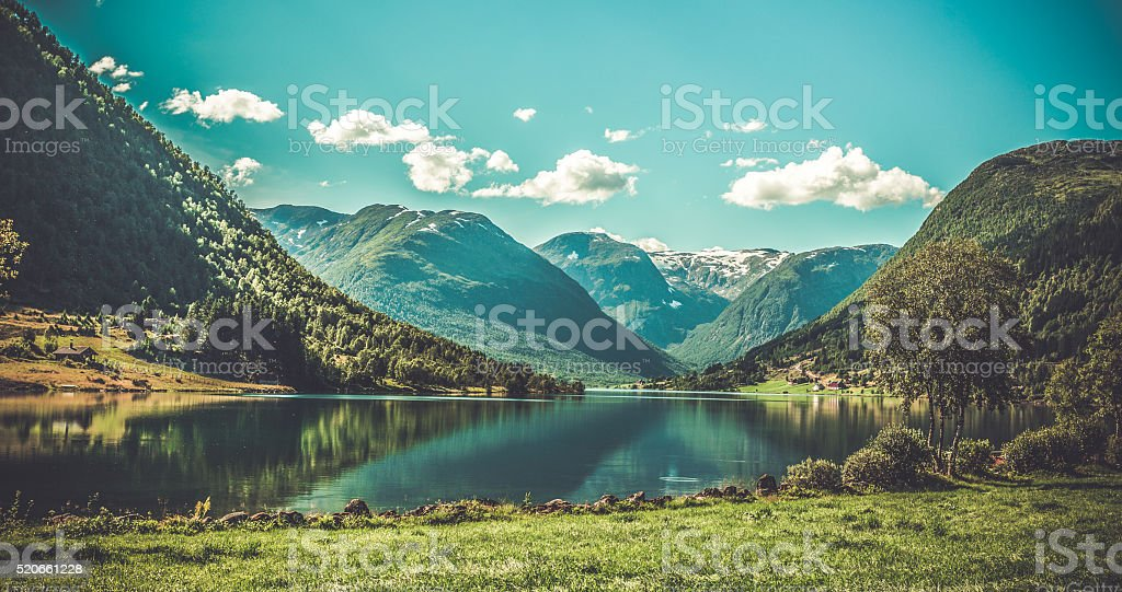 Grogeous Landscape of Norway stock photo
