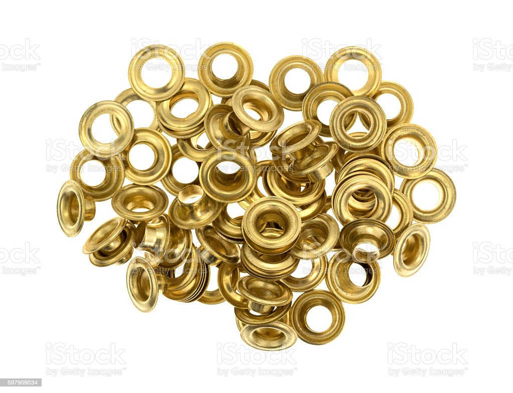 Grommets on a white background stock photo