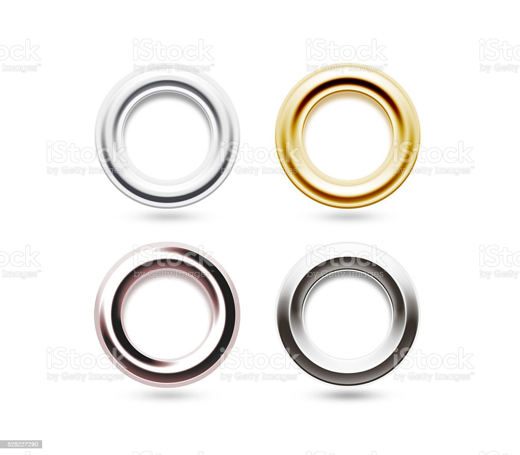 Grommets set isolated. Metal, brass, steel, gold, silver eyelets stock photo