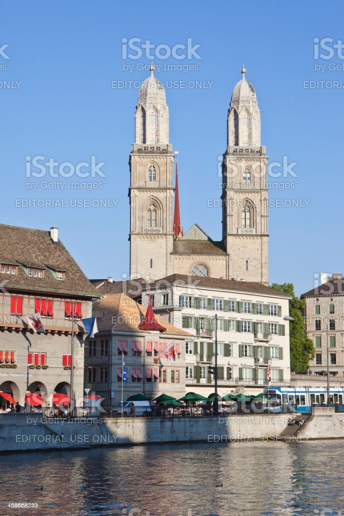 Großmünsterkirche (Great Cathedral), Zurich royalty-free stock photo