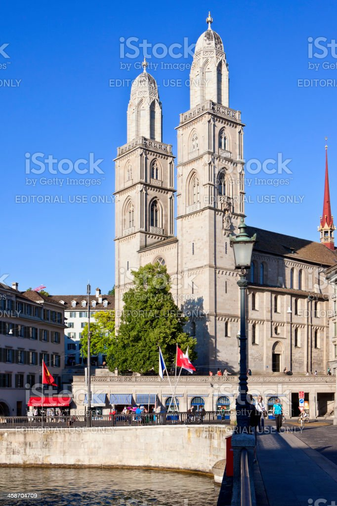GromAnsterkirche (Great Cathedral), Zurich stock photo