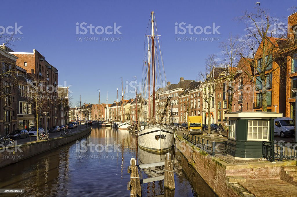 Groningen harbour stock photo