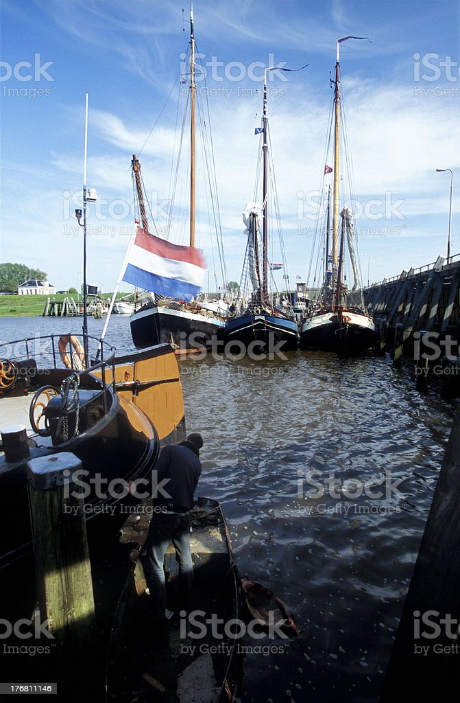 Groningen, Zoutkamp Harbour stock photo