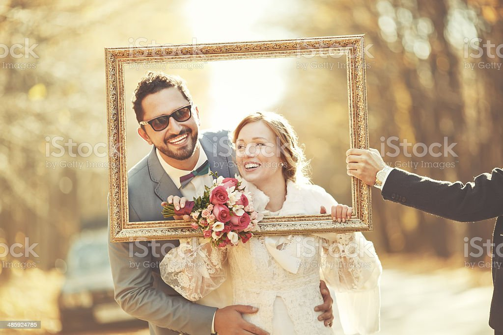 Groom and bride on wedding day. stock photo
