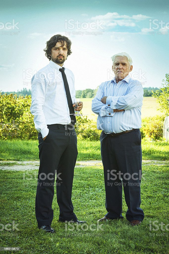 Groom and his grandfather royalty-free stock photo