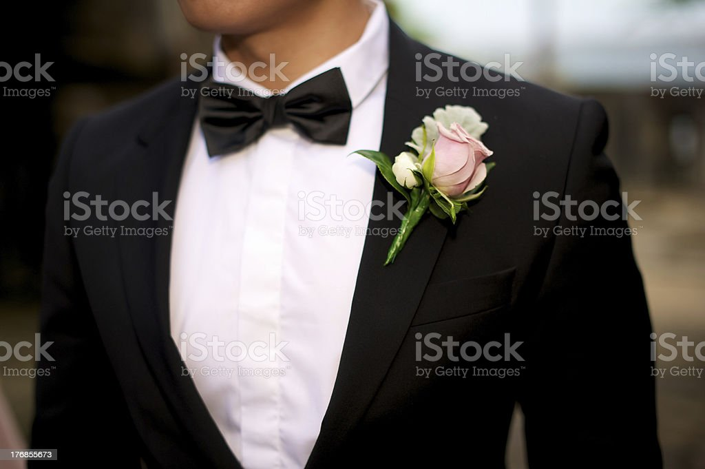 Groom at a wedding stock photo