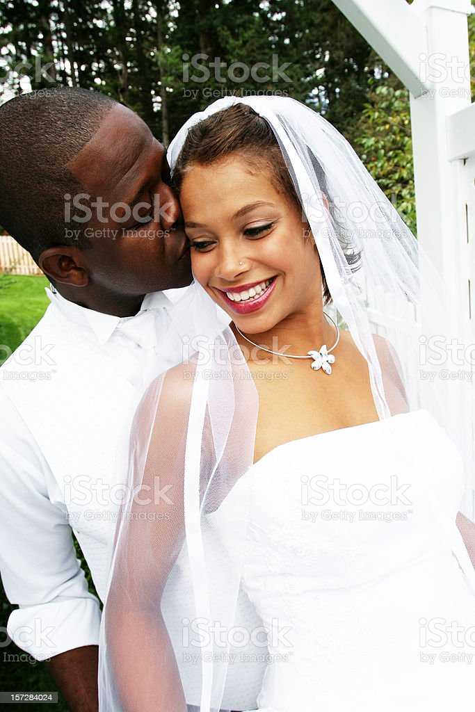 Groom Giving Bride a Kiss on the Cheek royalty-free stock photo