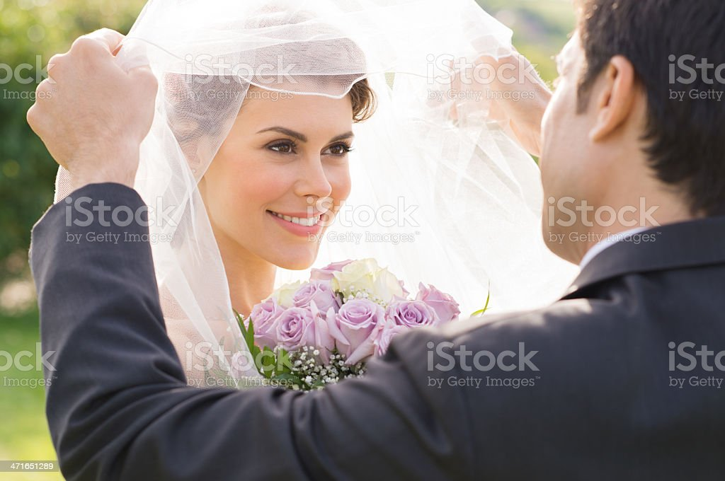 Groom Looking At Bride With Love stock photo