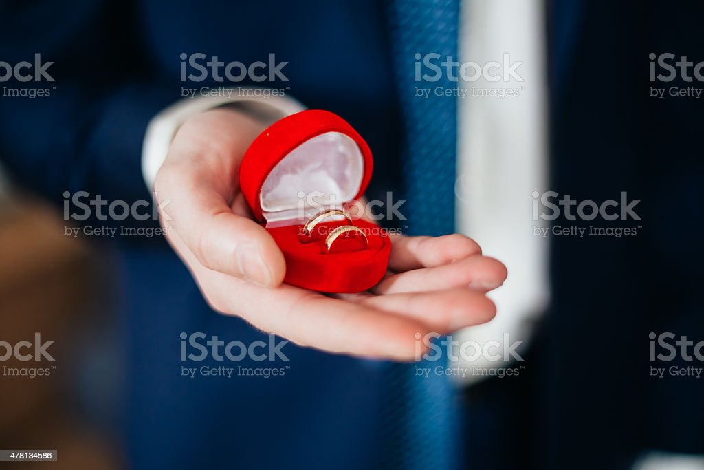 Groom Man Holding Holding Box With Wedding Rings stock photo