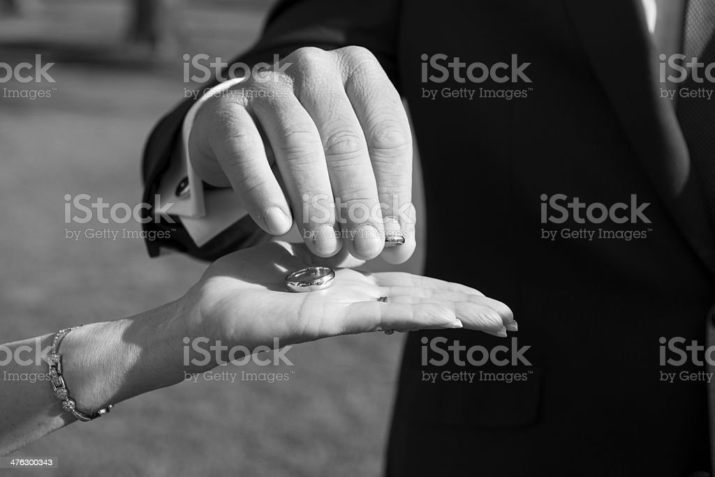 Groom picking up wedding ring from Celebrant's hand stock photo