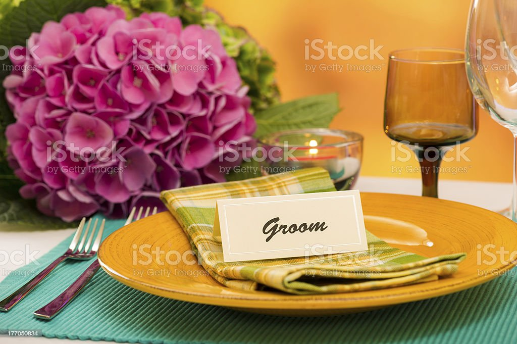 Groom Place Setting royalty-free stock photo