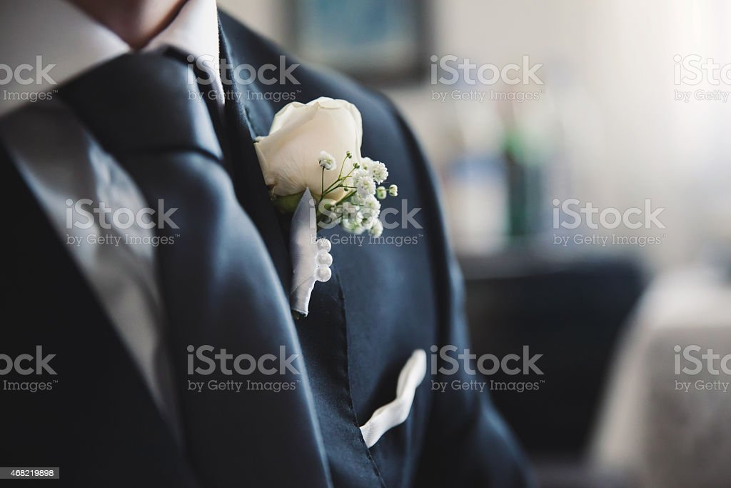 A groom preparing to marry the love of his life stock photo