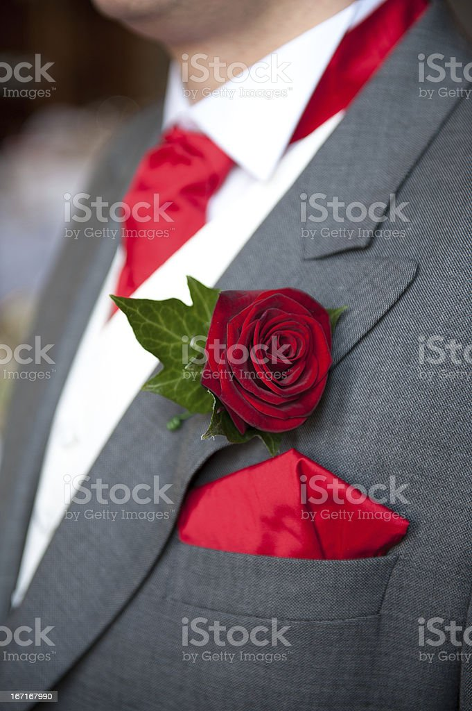 groom red rose buttonhole wedding royalty-free stock photo