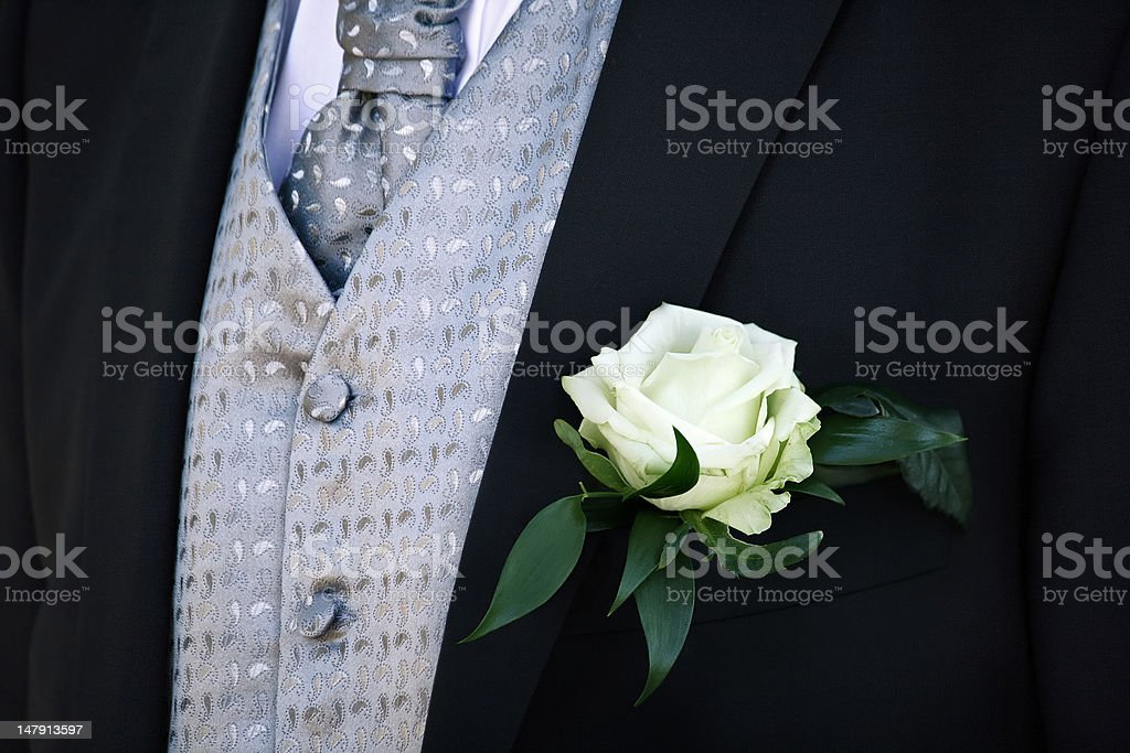 groom suit with white rose royalty-free stock photo