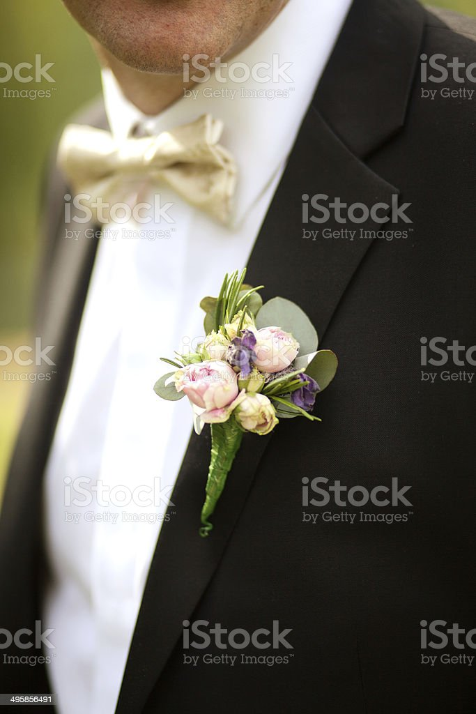 Groom Wedding Buttonhole Boutonniere stock photo