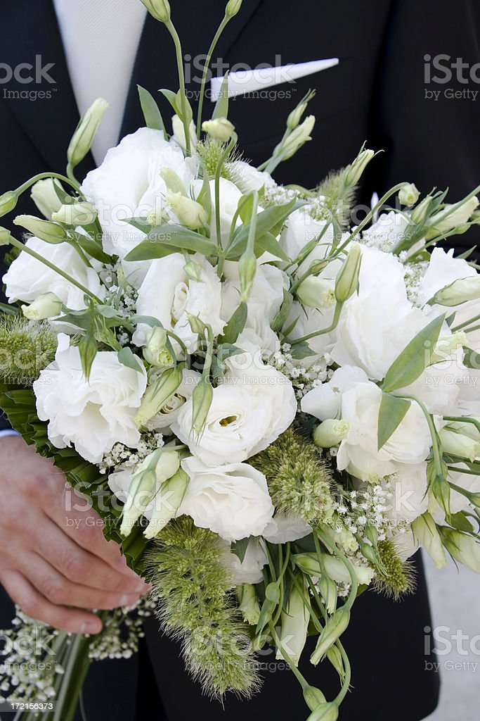 Groom with Bouquet royalty-free stock photo