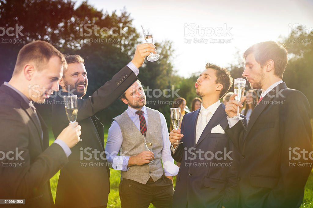 Groom with groomsmen stock photo