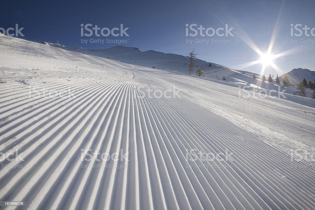 Groomed Ski Slope royalty-free stock photo