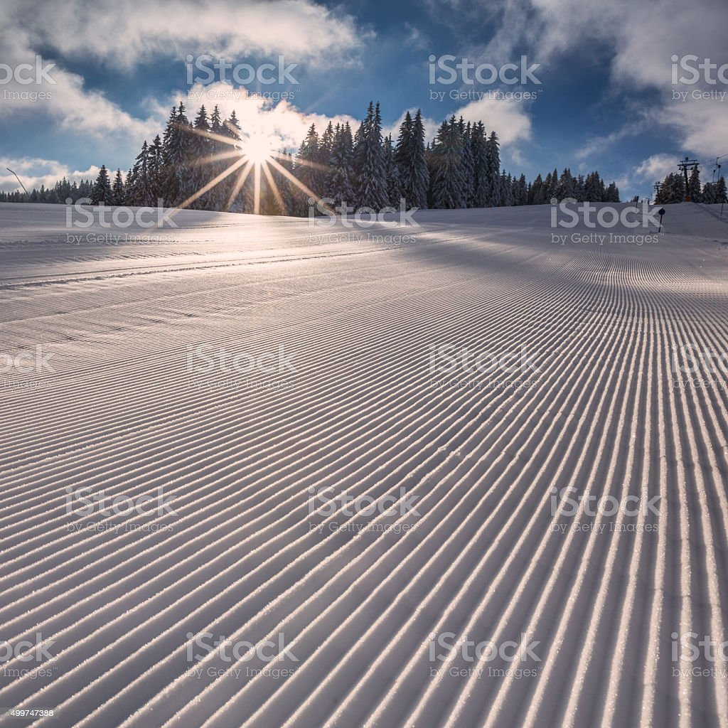 groomed skiing slope in Flack Forest, Germany stock photo