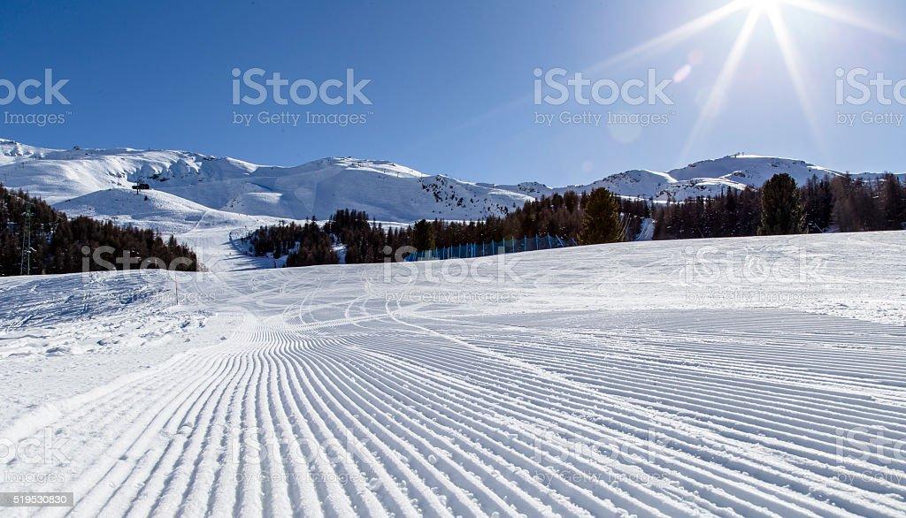 Groomed snow stock photo