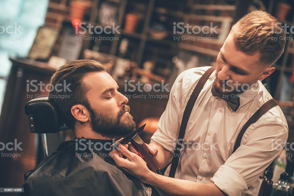 Grooming of real man. stock photo