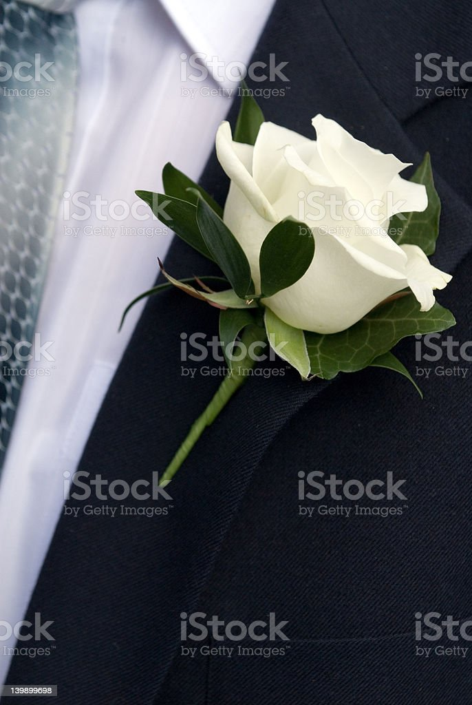 Grooms button hole stock photo