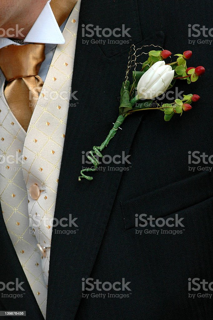 Grooms buttonhole royalty-free stock photo