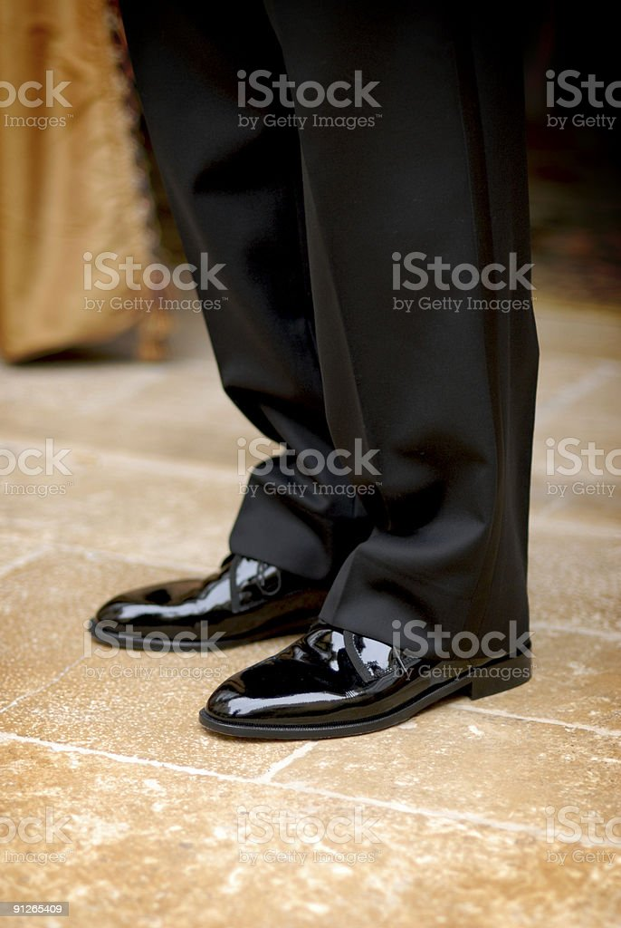 Groom's Shoes before Wedding Ceremony royalty-free stock photo