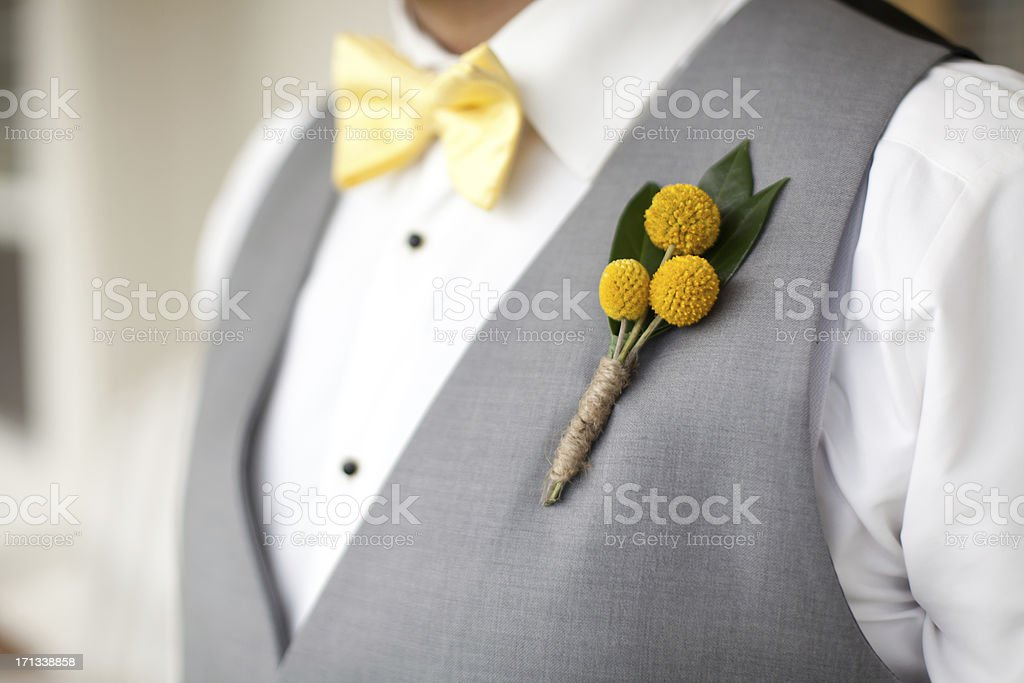 Groom's wedding boutonniere stock photo