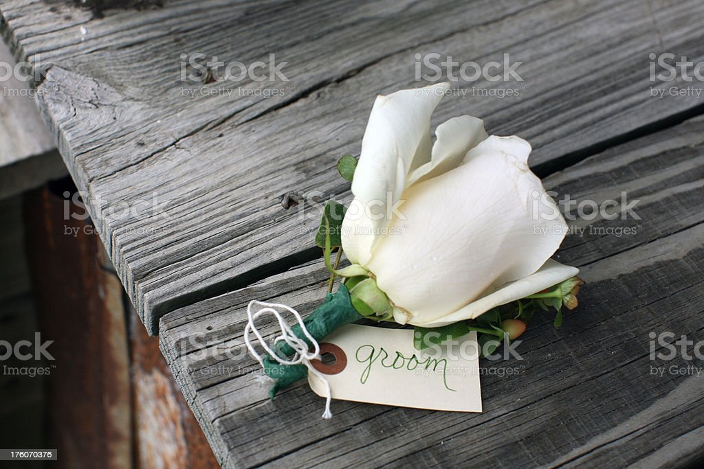 Groom's Wedding Boutonniere royalty-free stock photo