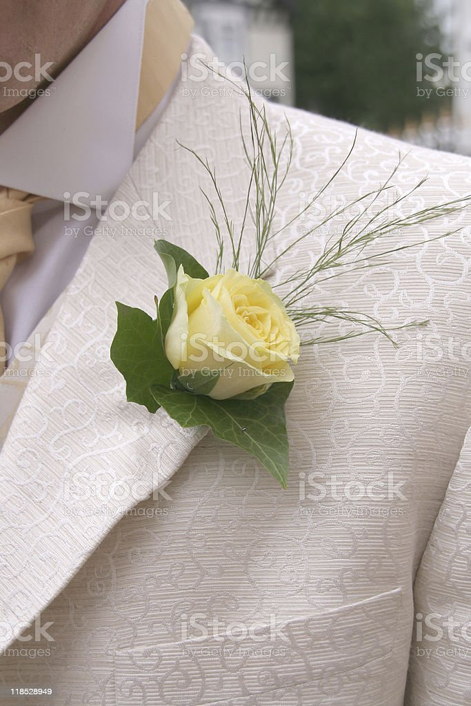 Grooms Wedding Button Hole royalty-free stock photo