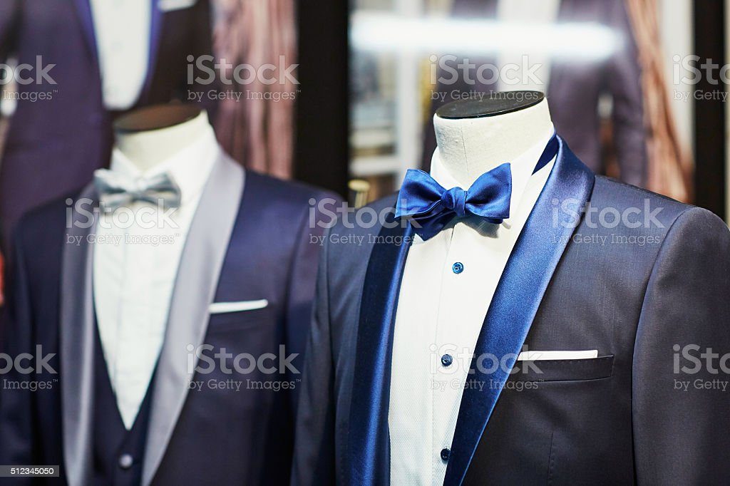 Groom's wedding suit with bow tie stock photo
