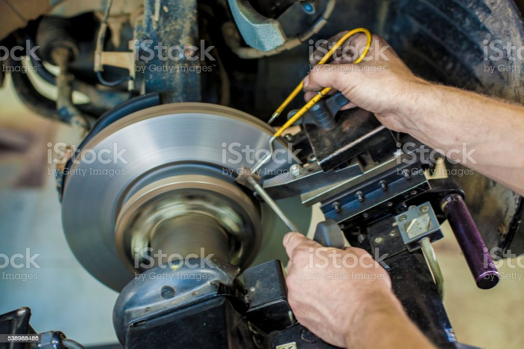 Groove brake disc stock photo