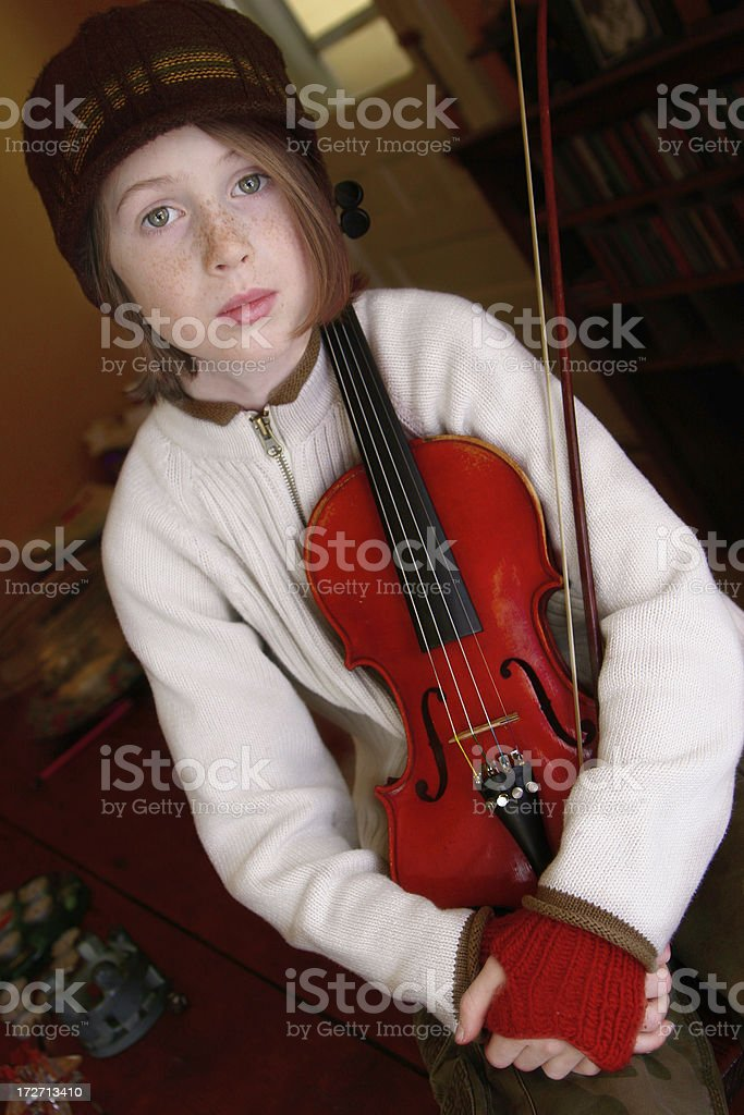Groovy fiddle child stock photo