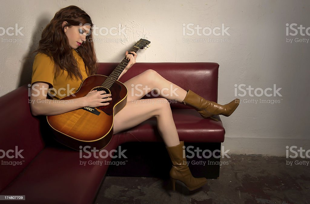 Groovy Girl with guitar royalty-free stock photo